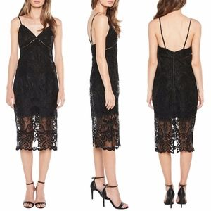 Bardot Lola Slip Dress Black Lace Midi